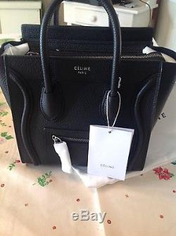 BNWT Celine Nano luggage tote in Black pebble leather Silver hardware with strap