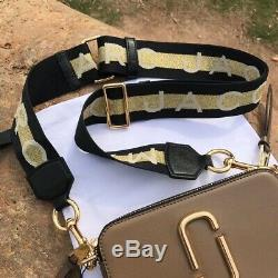 BNWT Marc Jacobs Snapshot Crossbody Bag, Taupe, Black/ Gold Strap, Authentic