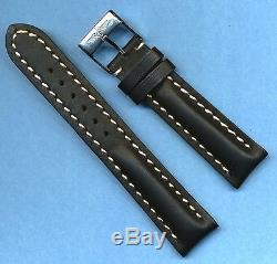 BREITLING BUCKLE & 22mm GENUINE LEATHER BLACK STRAP BAND WHITE STITCHING PADDED