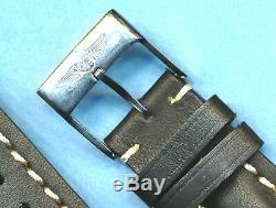 BREITLING BUCKLE & 24mm GENUINE BLACK LEATHER STRAP BAND WHITE STITCHING PADDED