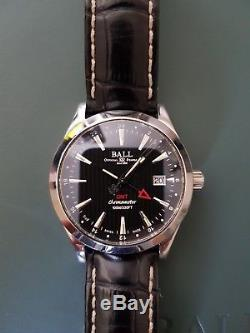Ball Engineer II Chronometer Red Label GMT 40mm Mens Watch Black Leather Strap