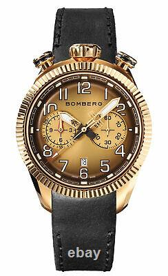 Bomberg Men's NS44CHPPK-202-9 BB-68 Vintage 44mm Gold Dial Leather Watch