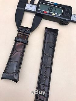Brand New Authentic ZENITH Alligator Black Leather Watch Strap Curved 22/18mm