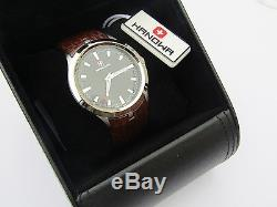 Brand New Mens Swiss Military Watch Black Dial Date Window Brown Leather Strap