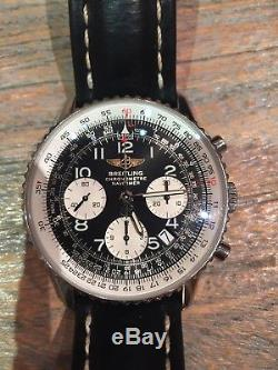Breiting Navitimer A2332, Stainless Steel with a Black leather strap