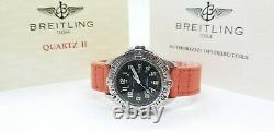 Breitling Colt A57035 Black Dial on Orange Strap with Official Booklets 38mm