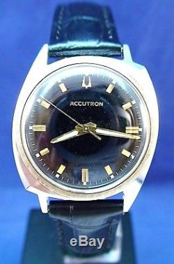 Bulova Accutron 214 vintage 1966 ss/gf watch with black dial & new leather strap