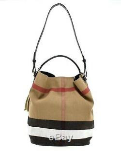 Burberry Ashby Hobo Shoulder Bag With Pouch Canvas Check New