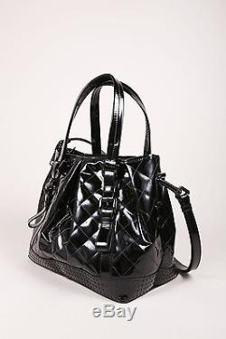 Burberry Black Patent Leather Buckle Strap Studded Tote Bag