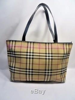Burberry Horseferry Check Coated Canvas Tote With Black Leather Straps VGUC