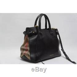 Burberry Medium Banner House Check with Strap Black MSRP $1695
