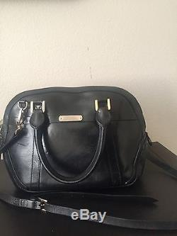 Burberry Small Leather Orchard Bowling Bag Black with Cross body Strap with Tags