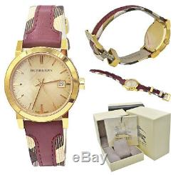 Burberry Watch Women BU9111 Gold Check Dial Red Leather Canvas Strap 38mm