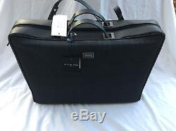 Burberrys leather and check black briefcase logo unisex with leather strap large