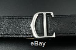 CARTIER Roadster/Chrono Black Leather Watch Strap Deployment Buckle 20MM MENS