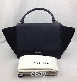 CELINE Trapeze Long Strap Bag Leather and suede