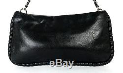 CHANEL Black Leather Quilted Logo Zip Top Chain Strap Shoulder Bag