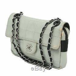 CHANEL Gray Stitch Quilted Leather Flap Evening Bag Black Silver Chain Strap