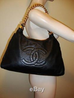 CHANEL Leather Rodeo Drive Hobo Black Lambskin leather Gold Chain Strap Purse