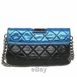 CHANEL Metallic Pink & Blue Gray Black Quilted Leather Flap Bag Chain Strap Bag