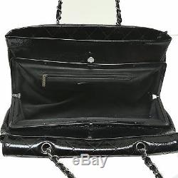 CHANEL Women Black Quilted Leather Large Flap Bag Chain Strap Handbag