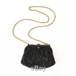 CHANEL mini crossbody purse quilted black leather chain strap bag vintage