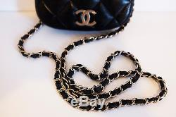 CHANEL mini crossbody purse quilted black leather vtg chain strap bag