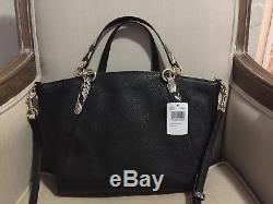 COACH Kelsey Handbag Tote Black Pebble Leather with Snake Handles/Strap NEW