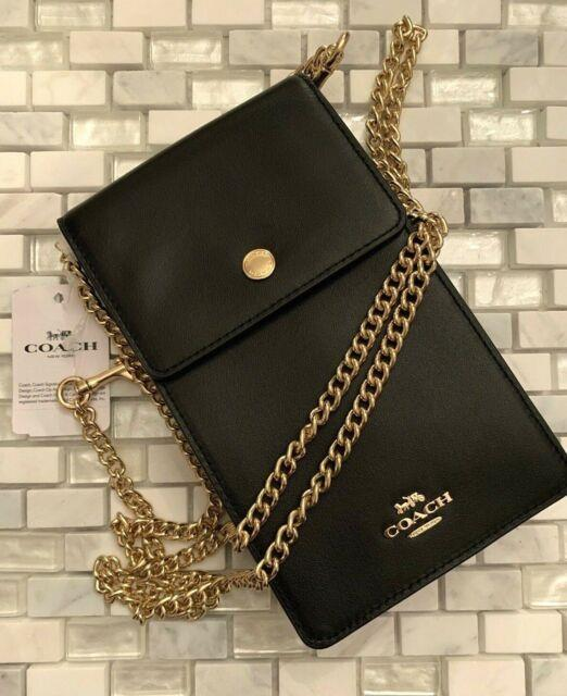 Coach Snap Phone Leather Chain Crossbody Pouch Wallet Nwt Black 76363
