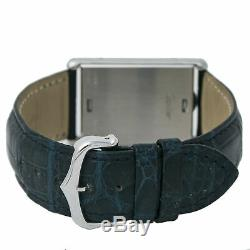 Cartier Tank Basculate Mecanique 2390 XL Hand Wind Stainless Steel Blue leather