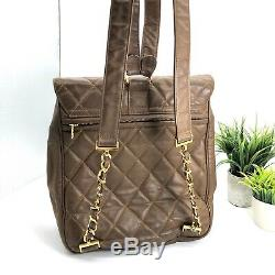 Chanel Authentic Vintage 95 CC Logo Quilted Leather Backpack Chain Straps Brown