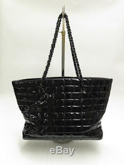 Chanel Bag CC Quilted Patent Leather Chain Strap Large Tote Black
