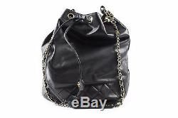Chanel Black Bucket Draw Leather Purse WithChain Strap