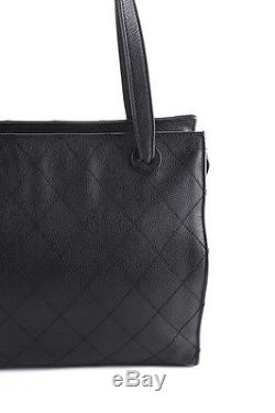 Chanel Black Caviar Leather Quilted Double Strap Tote Handbag BY4424 MHL