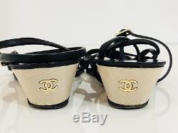 Chanel Black Gold Leather Ankle Straps Low Wedge Womens Sandals. 8, 38
