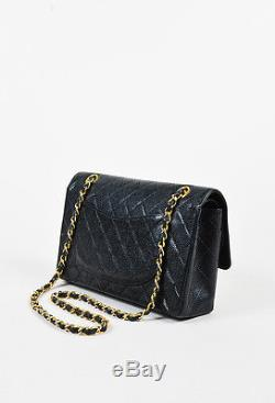 Chanel Black & Gold Tone Caviar Leather Chain Strap Double Flap Classic Bag