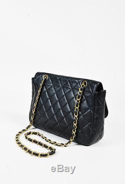 Chanel Black & Gold Tone Caviar Leather Chain Strap Extra Large Flap Bag