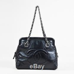 Chanel Black Lambskin Leather Quilted Chain Strap'CC' Stitch Bag