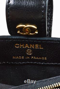 Chanel Black Lambskin Leather Quilted Pearl Shoulder Strap Mini Crossbody Bag