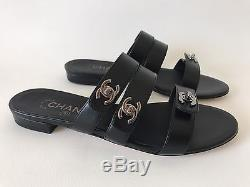 Chanel Black Leather 3 Straps Flat Sandals With Silver CC Locks Size 36