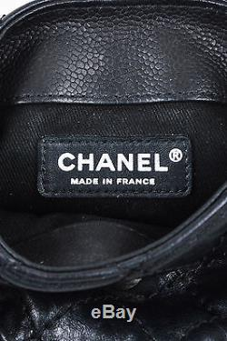 Chanel Black Leather Quilted Curb Chain Strap'CC' Flap Shoulder Crossbody Bag