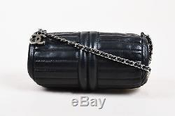 Chanel Black Leather Quilted Rib Paneled Chain Strap Barrel Bag