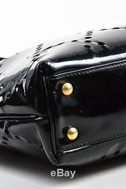 Chanel Black Patent Leather Perforated Chain Strap Bag