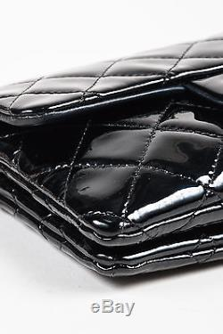 Chanel Black Patent Leather Quilted Dual Pocket Crossbody Chain Strap Bag