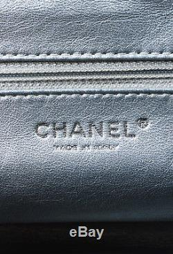 Chanel Black Patent Leather Woven Chain Strap Luxe Ligne Shoulder Tote Bag