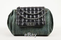Chanel Blue Denim Black Leather Quilted Chain Strap Accordion Flap Bag