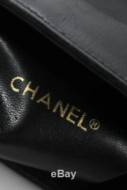 Chanel Vintage Chain Strap Quilted Base Shopping Tote Bag Handbag Black Leather