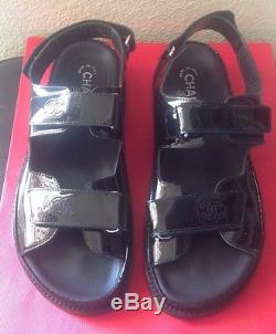 Chanel Womens Black Patent Leather Velcro Straps Sandals Sz. 41 Used No Box Italy