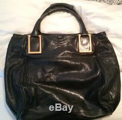 Chloe X Large Black Leather Bag With Blue Straps Gold Gear Sold Out
