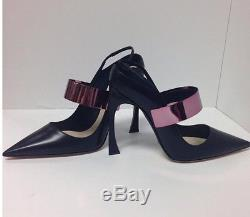 Christian Dior Shoe Black Leather Pink Metal Strap Size 40 New